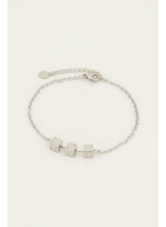 Armbandje drie dobbelsteentjes / zilver