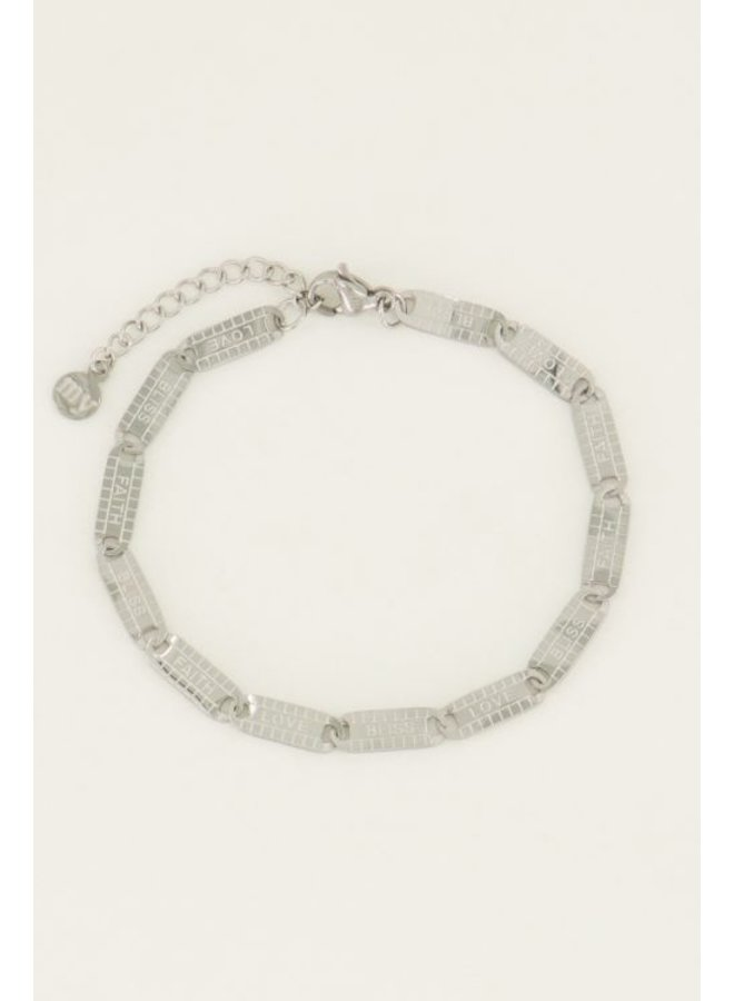 Armband lucky words / zilver