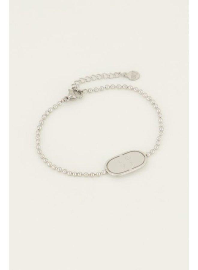 Armband love plaatje / zilver