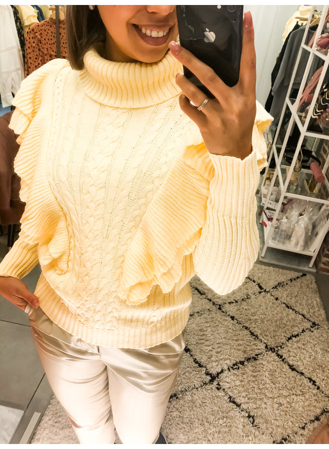 Trui - Cable - Fringe / Yellow
