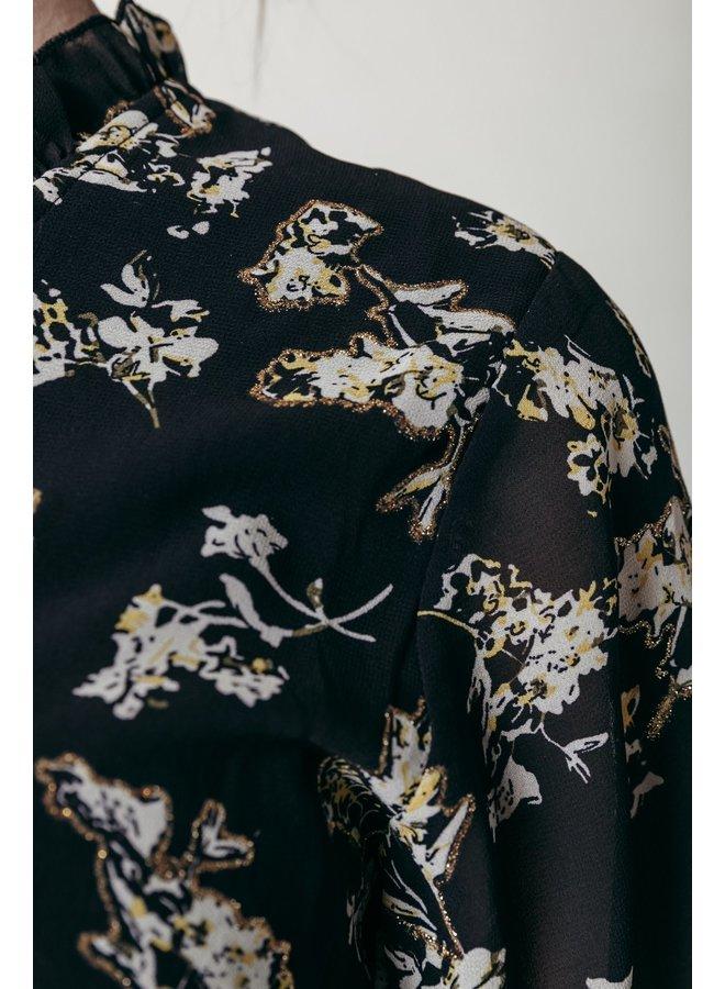 Jurk - Presley Flower Lurex Ruffle / Black