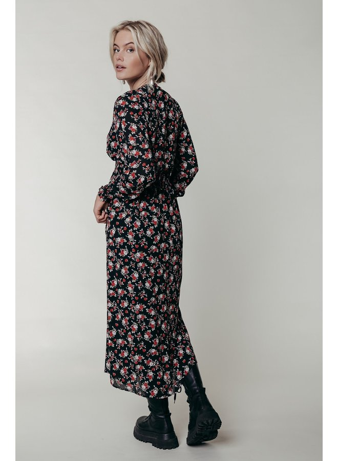 Jurk - Harper Flower Maxi / Black - Red