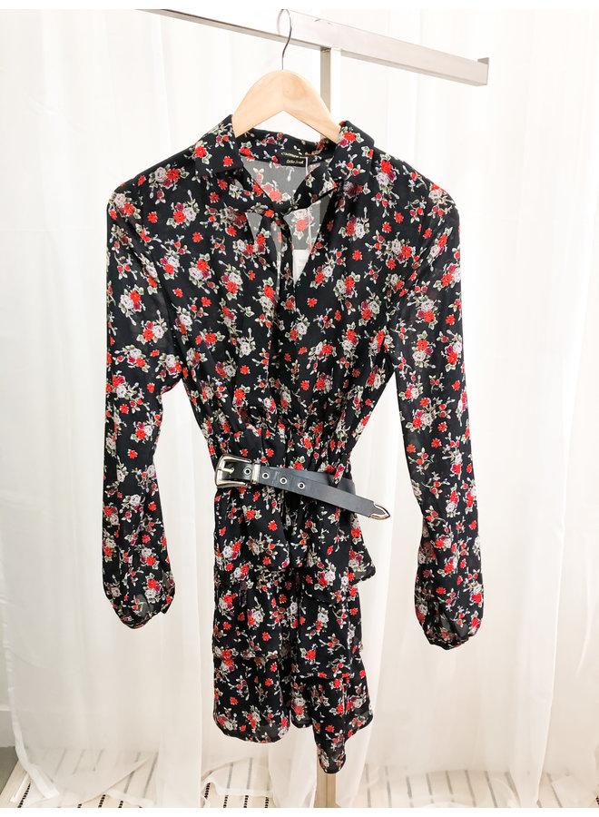 Jurk - Kimi Flower Belted / Black - Red