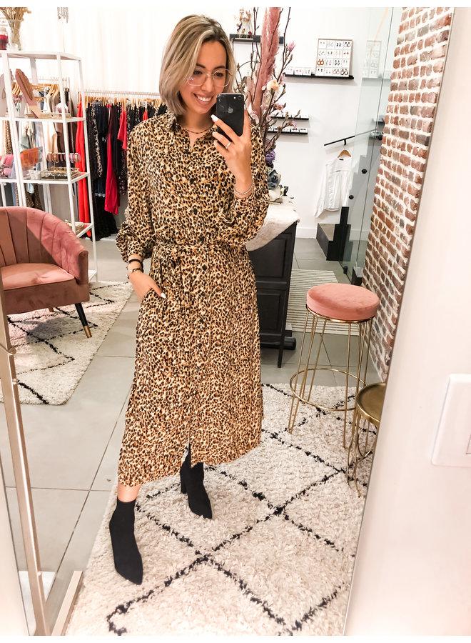 Jurk - Kera Leopard Maxi Shirt / Brown
