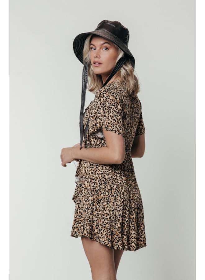 Jurk - Telsi Leopard Shortsleeve Wrap / Brown
