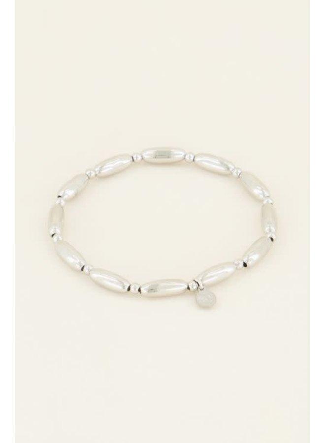 Armband - Stretch Langwerpige Kralen / Zilver