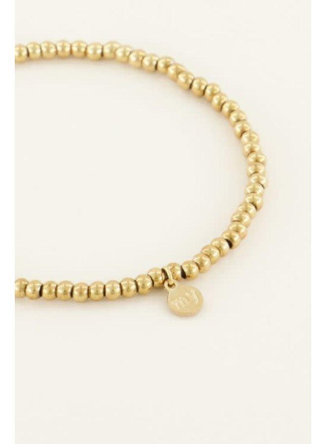 Armband - Stretch Kleine Stalen Kralen / Goud