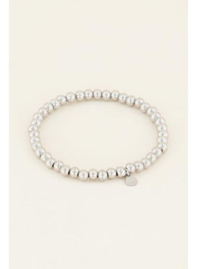 Armband - Stretch Grote Stalen Kralen / Zilver