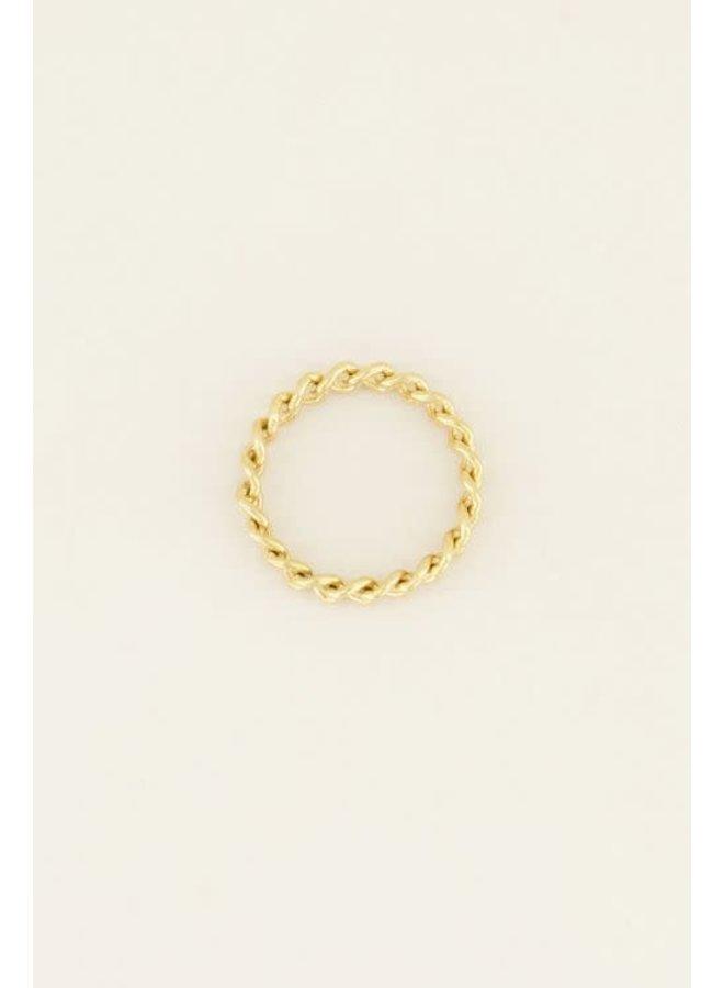 Ring - Kleine schakels / Goud maat 16