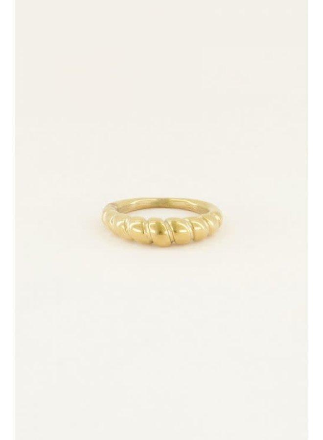 Ring - Ribbels / Goud 16