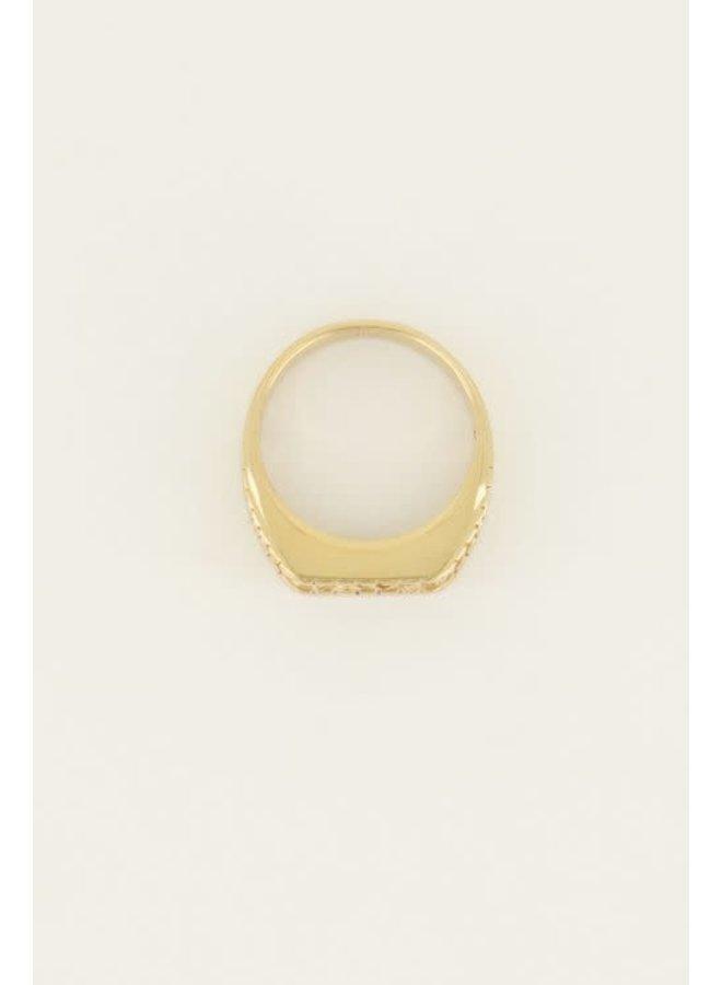 Ring - Zegelring Love / Goud maat 17