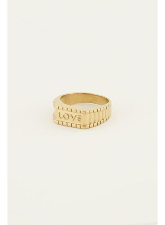 Ring - Zegelring Love / Goud maat 18