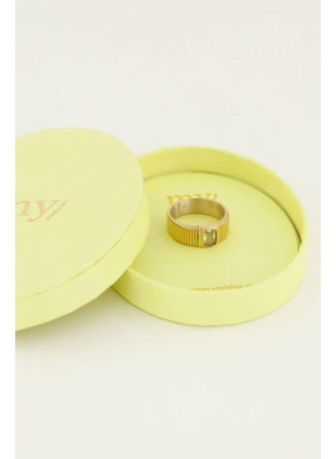 Ring - Brede ring met gele steen - Maat 16 / Goud
