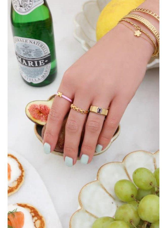 Ring - Brede ring met paarse steen - Maat 16 / Goud