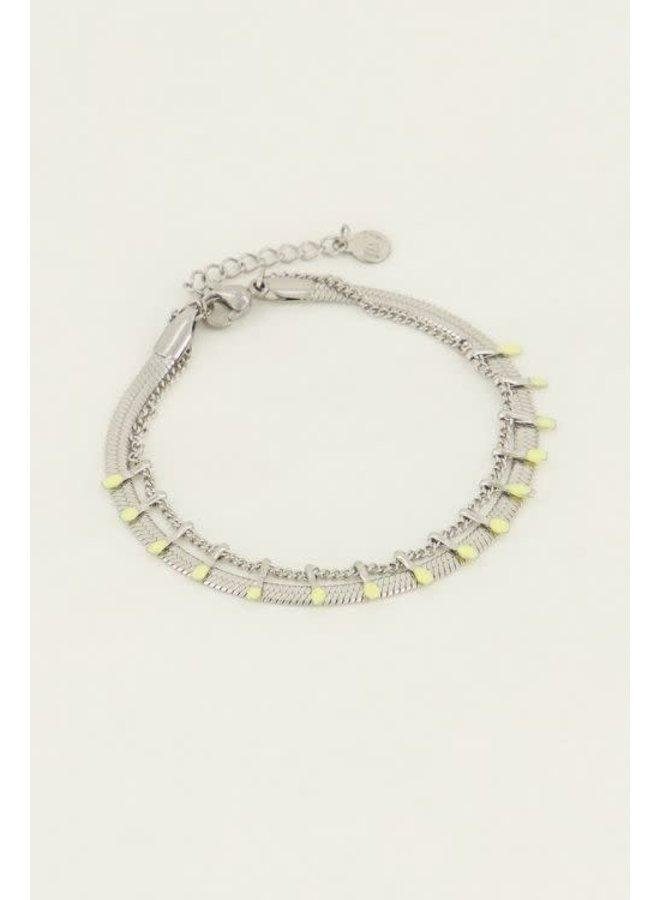 Armband - Dubbel - Geel / Zilver
