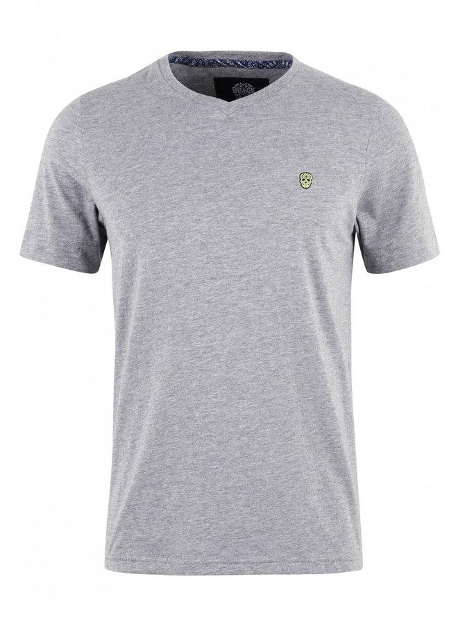 T-Shirt - Vurtanos / Grey Melange - Yellow Skull - Bandana