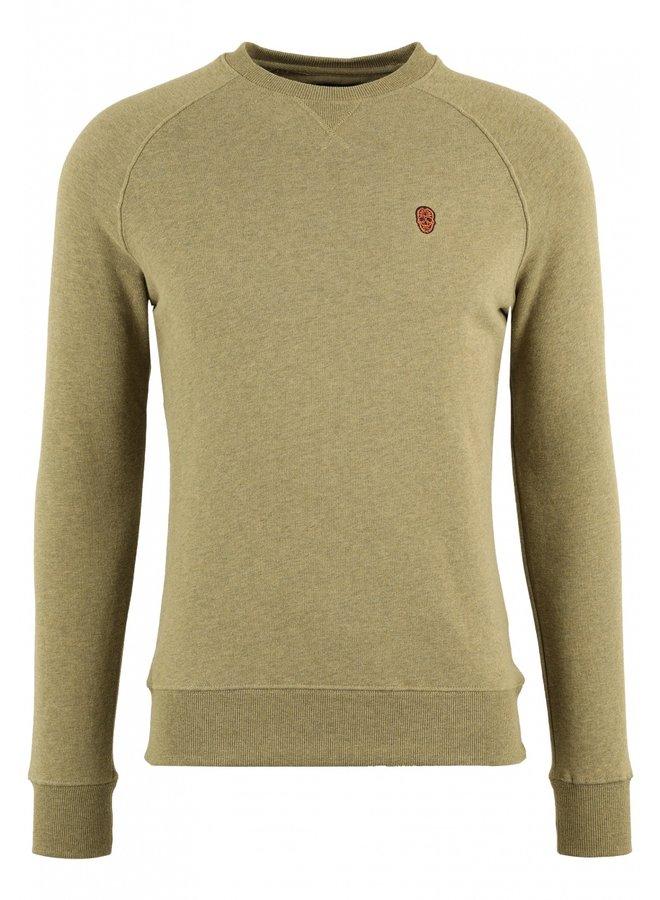 Sweater - Raglos / Khaki Melange - Orange Skull