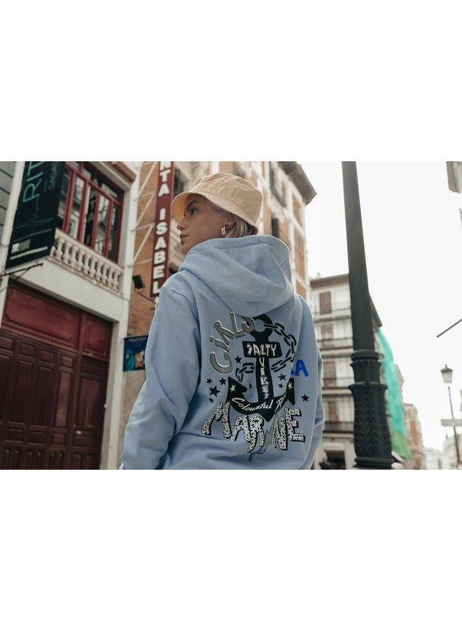 Hoodie - Girls La Marine oversized / Soft Blue