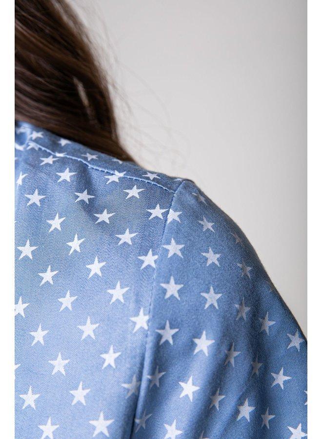 Jurk - Dalia Star Shortsleeved / Blue-White