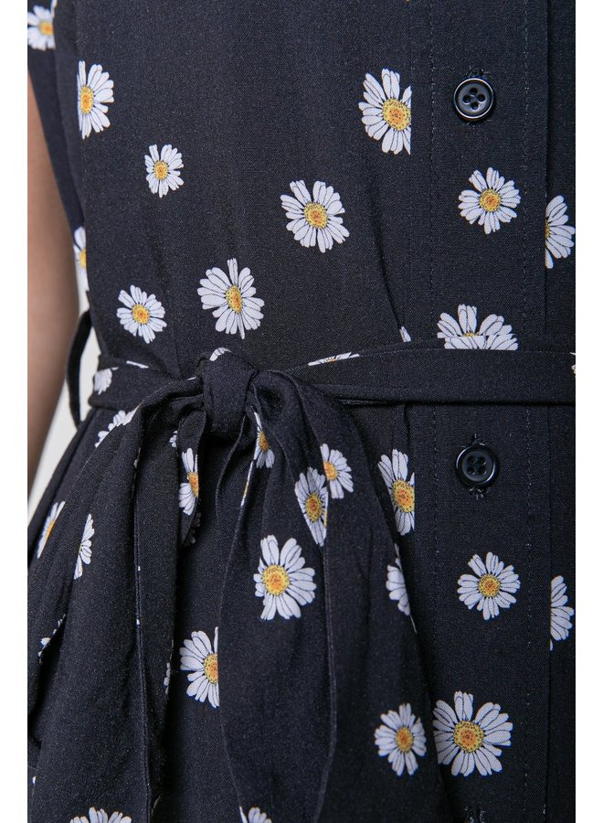 Jurk - Dalia Daisy Shortsleeved Maxi Shirt / Black