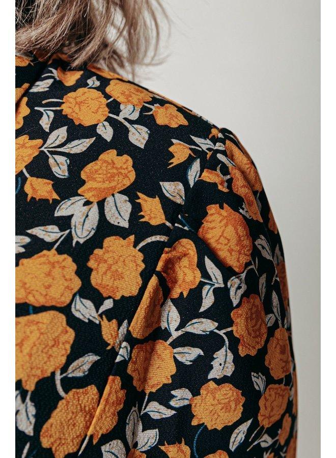 Jurk - Kera Flower Maxi Shirt / Black - Yellow