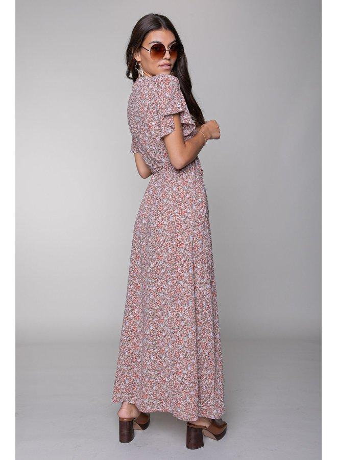 Jurk - Ava Flower Wrap Maxi Dress / Multicolor