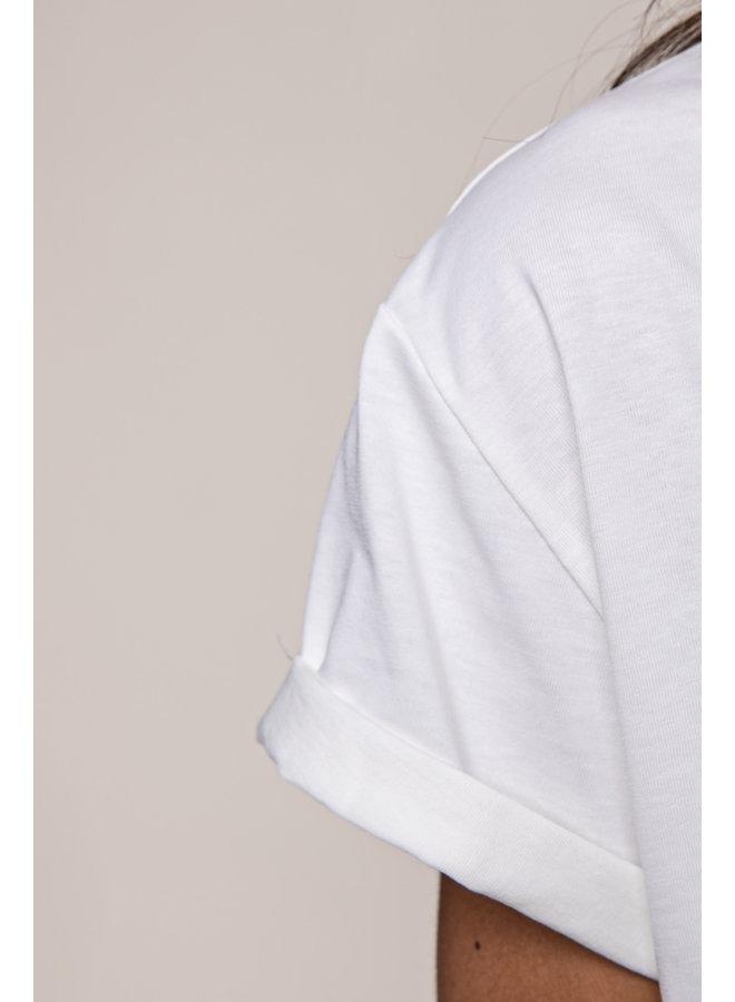 T-Shirt - Papaya Fiesta Cropped / Offwhite