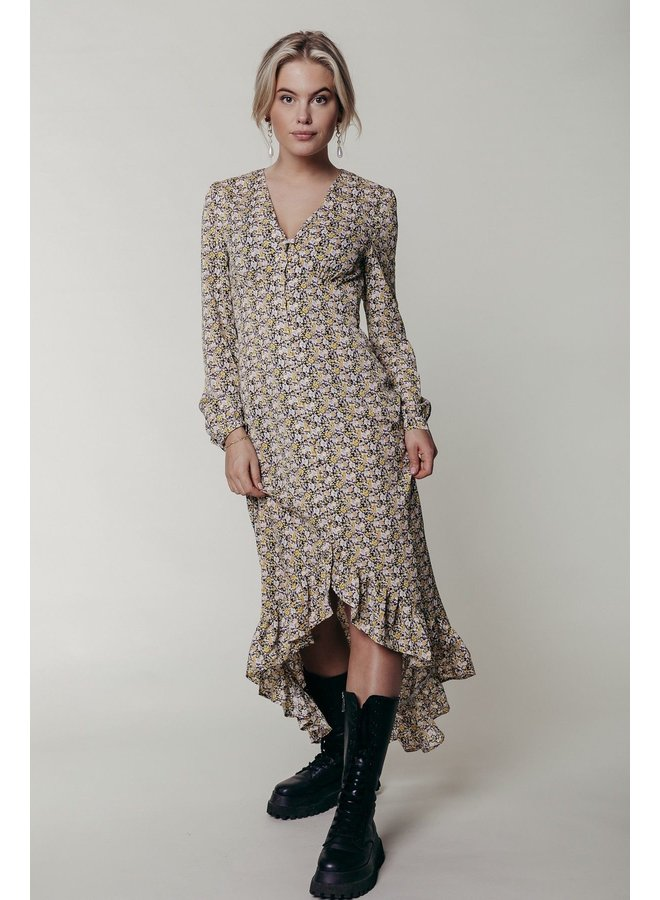Dress - Megan Flower High Low / Yellow