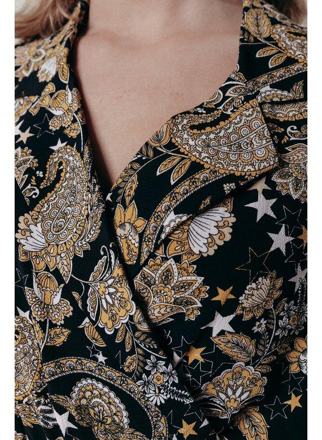 Jurk - Vivian Paisley Blazer Collar / Black