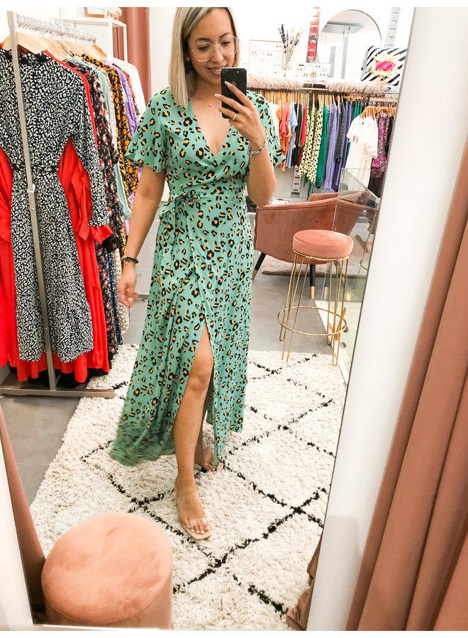 Ava Leopard Maxi Wrap Dress Women Turquoise M