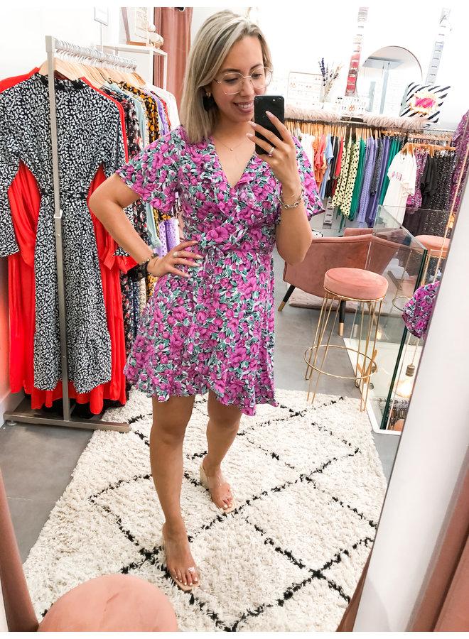 Telsi Flower Shortsleeve Real Wrap Dress Women Pink XL