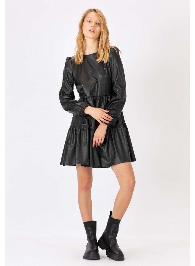 Dress -Quiabo - leather look / black