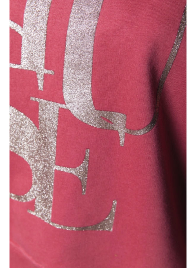 Sweater - Muse Glitter Dropped Shoulder / Old Pink