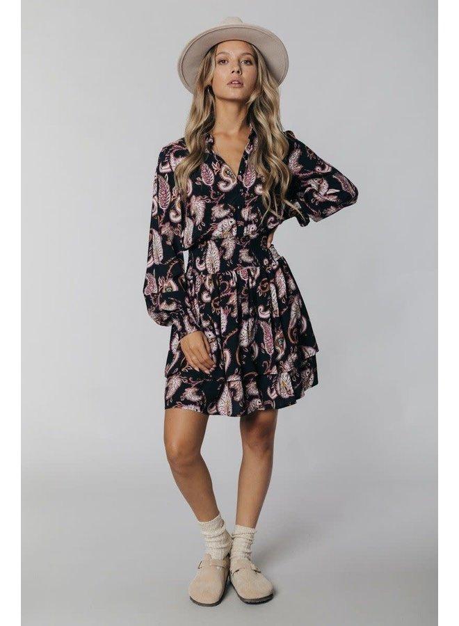 Jurk - Harley. Paisley Mini Smocked Shirt dress / Black