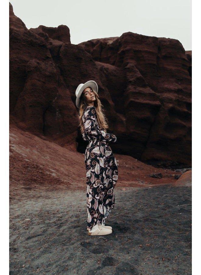 Jurk - Maya Paisley Maxi Wrap / Black