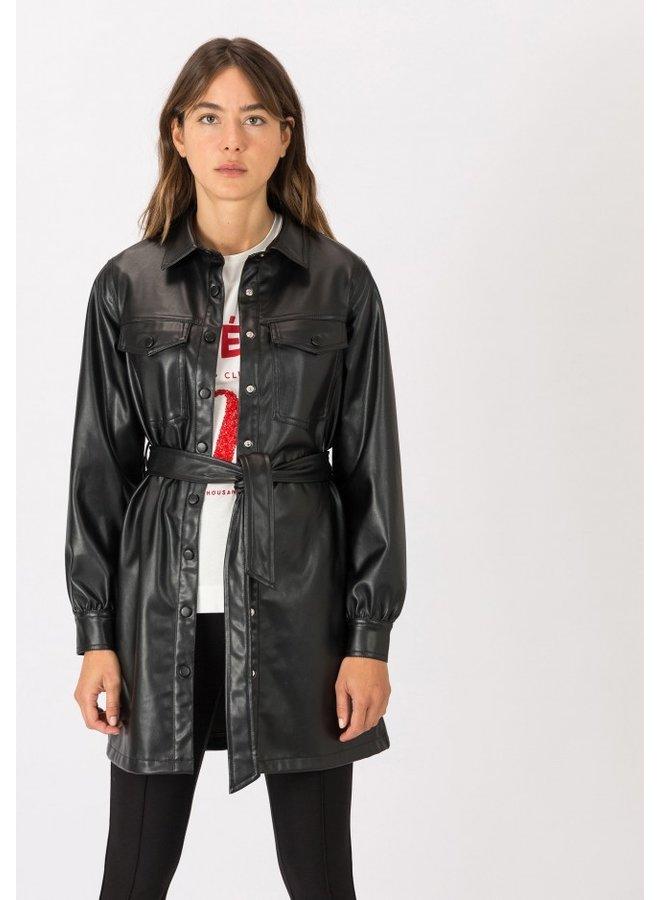 Jurk - Leather Look - Vudu / Black