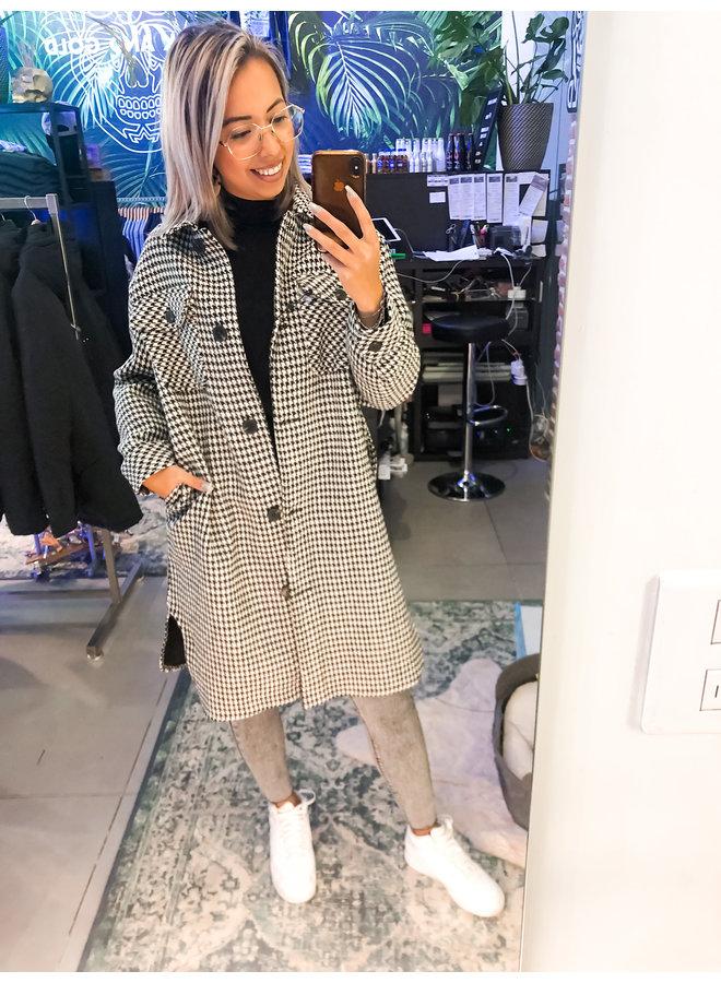 Jas - Long Jacket Pink / Black-White