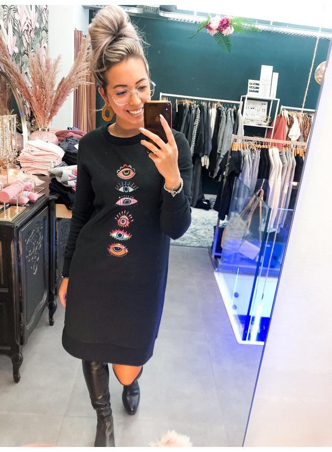 Dress - Sweater Dress  Eyes / Black