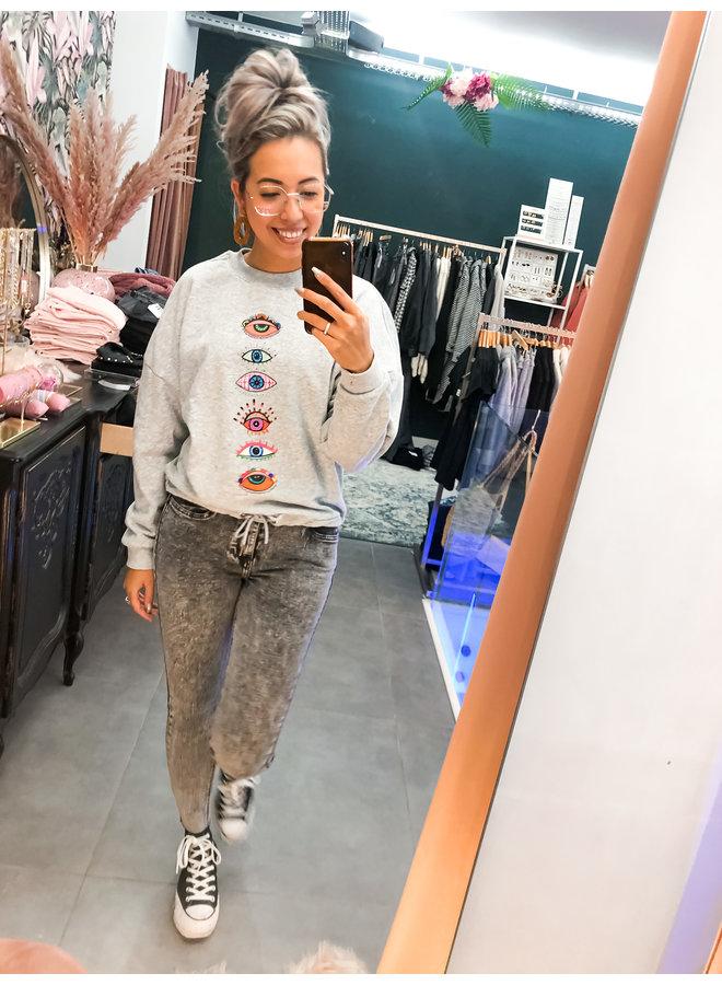 Sweater - Oversized Eyes / Light Grey