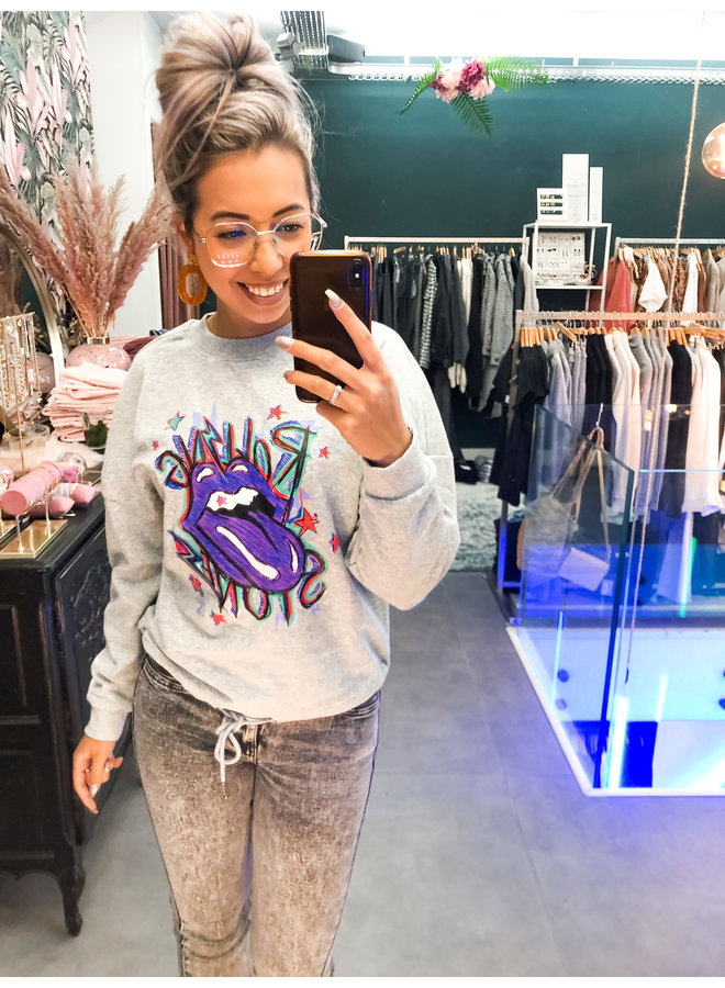 Sweater - Oversized Rolling Stone / Light Grey & Purple