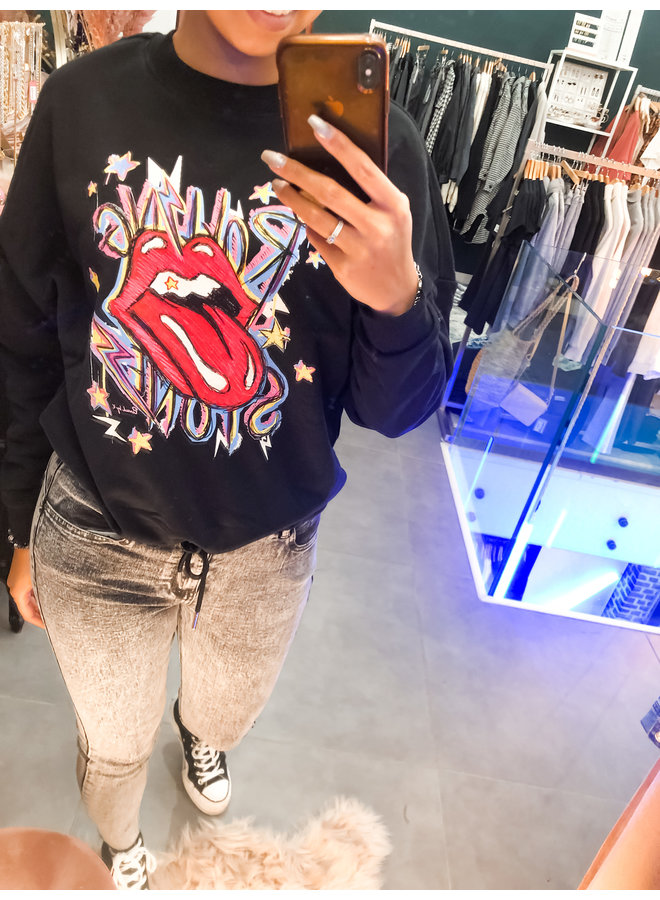 Sweater - Oversized Rolling Stone / Black & Red