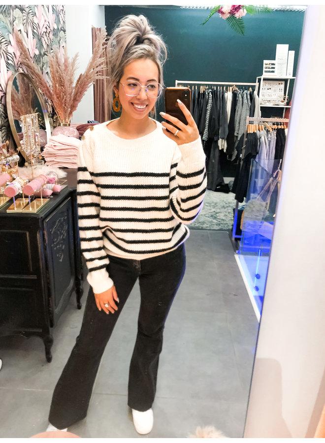 Sweater - Claire gold button / Ecru - Black