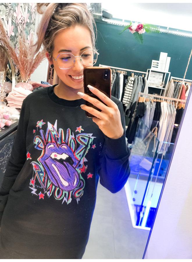 Dress - Sweater dress Rolling Stone / Black - Purple