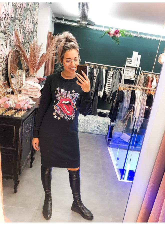 Dress - Sweater dress Rolling Stone / Black - Red