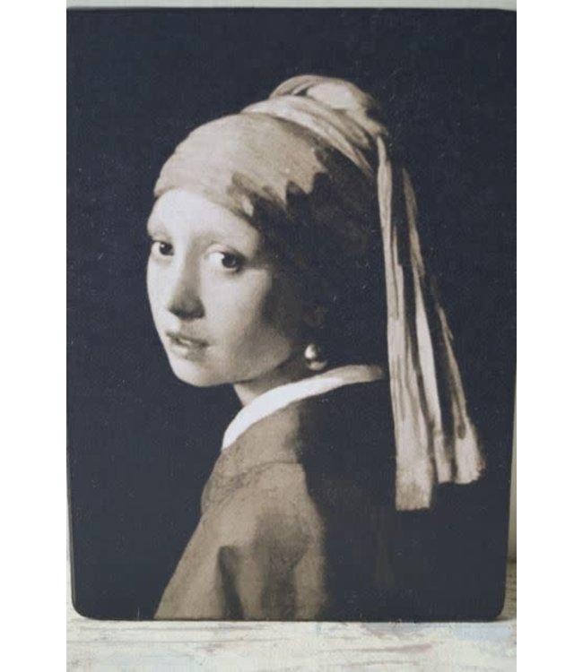 # W207 - Afbeelding meisje parel zwart wit - 14 x 19 cm