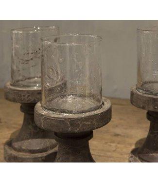 *waxine isa glas op houten voet - per stuk - grey finish