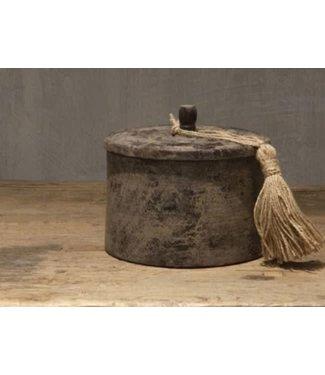 *Q406 - Pot hout deksel kwast - 18 x 18 x 12 cm