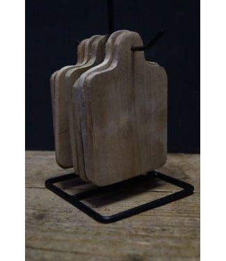 *Q893 - Set van 6 onderzetters mangohout met houder - 11 x 11 x 22 cm