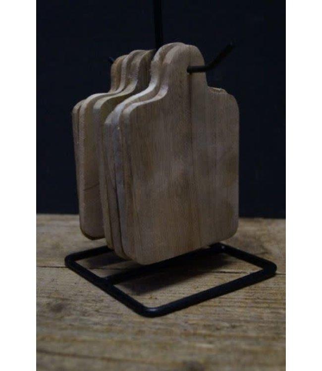 # Q893 - Set van 6 onderzetters mangohout met houder - 11 x 11 x 22 cm