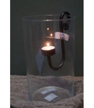 *Q572 - Hangkandelaar waxine - licht metaal - 5 x 10 x 16,5 cm